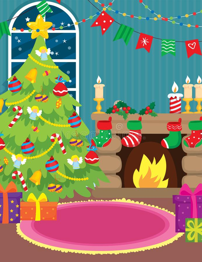 Interior With Fireplace And Christmas Tree vector illustration