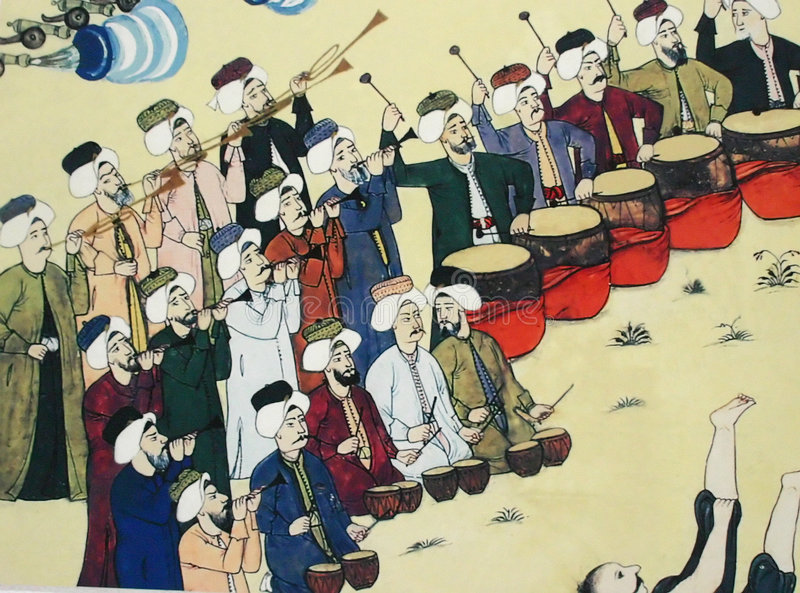 Janissary band performing, Ottoman painting. Askeri [Military] Museum Istanbul, Turkey royalty free stock photo