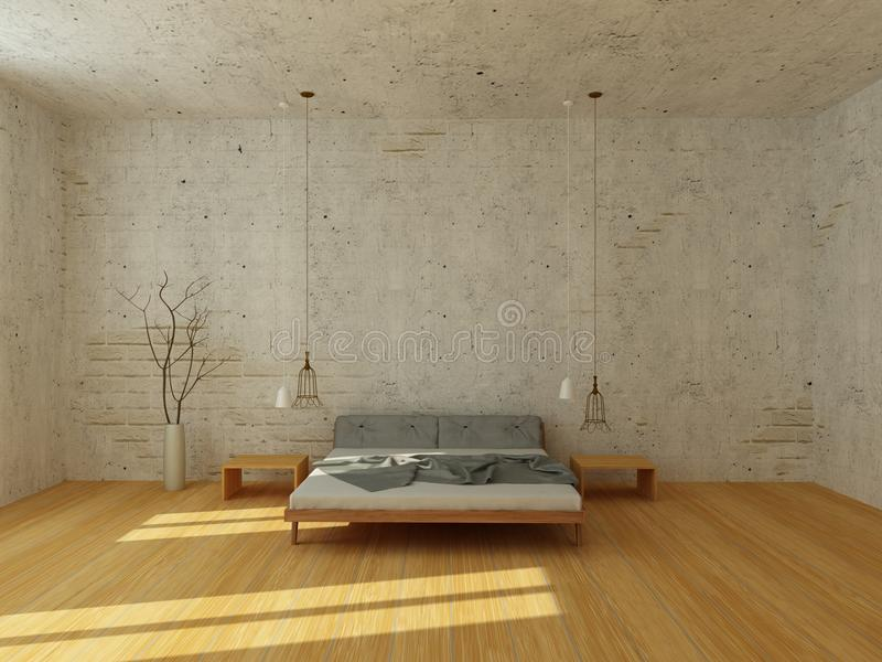 Light bedroom in modern Scandinavian style. Light bedroom with white brick wall and stucco, with wooden floor, modern chandelier, rays of sun stock illustration