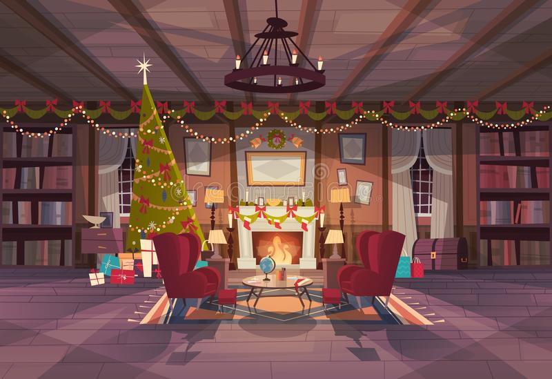Living Room Decorated For Christmas And New Year, Empty Armchairs Near Pine Tree And Fireplace, Home Interior Decoration stock illustration