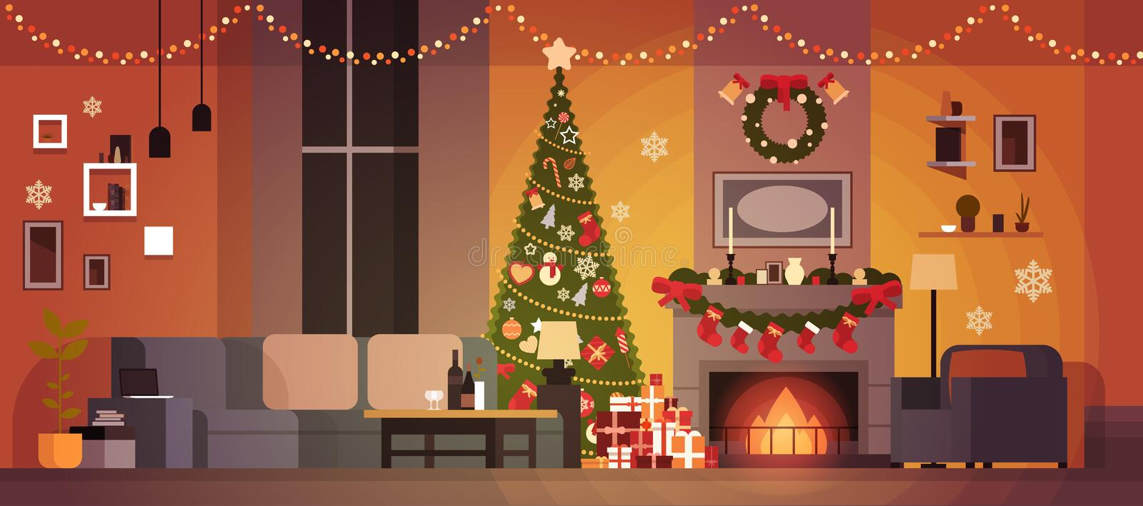Living Room Decorated For Christmas And New Year With Fir Tree , Fireplace And Garlands Holidays Home Interior. Flat Vector Illustration vector illustration