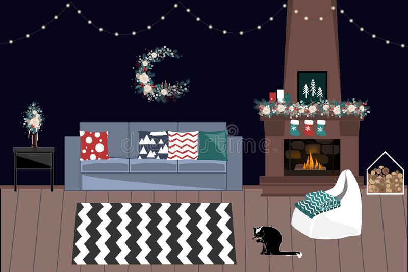 Living Room Decorated For Christmas And New Year With Fireplace, Garlands, and Winter Bouquets. Holidays Home Interior. Living Room Decorated For Christmas And vector illustration
