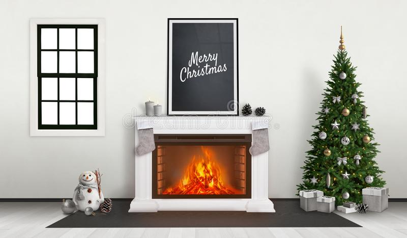 Merry Christmas poster on fireplace. Decorated Christmas tree beside.  royalty free illustration
