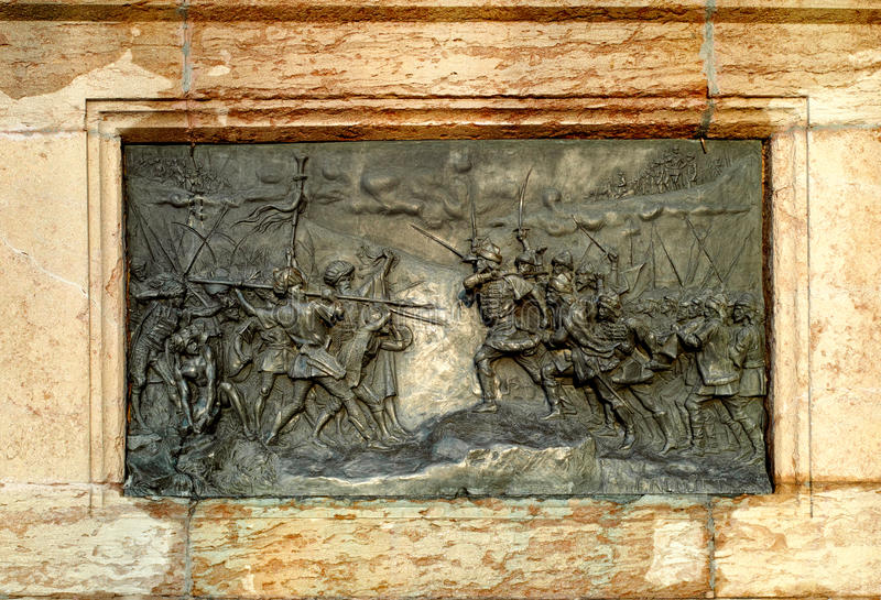 Ottoman war fight scene. Sculpture with scene from the historical war between Romanian army and Turkish army known as Ottoman Empire royalty free stock photos