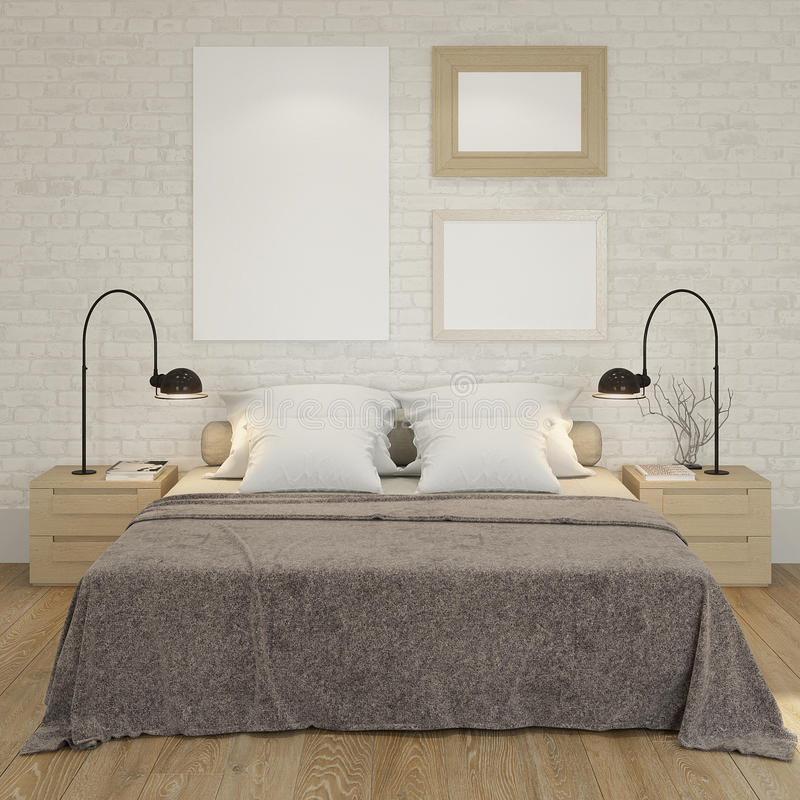 Mock up poster frame at the white brick wall of bedroom. 3D render vector illustration