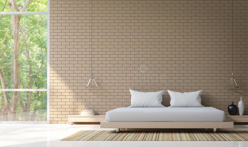 Modern bedroom decorate wall with brick 3d rendering image. Minimalist style white floor decorate wall with Brick pattern,basic Simple bright and clean There royalty free illustration