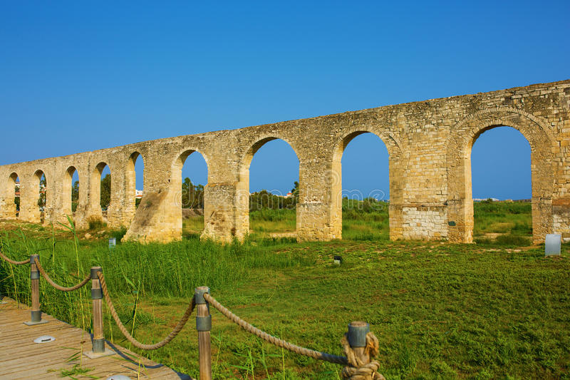Ottoman Kamares Aqueduct. (Bekir Pasha Aqueduct). Larnaca, Cyprus. It was built in 1747 royalty free stock photo