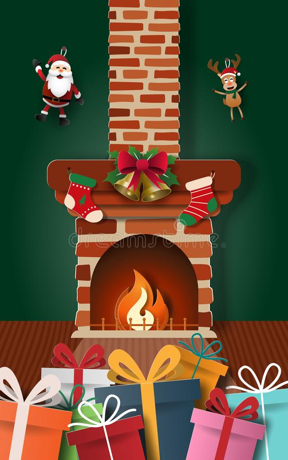 Paper art of Santa Claus`s gifts with decorated fireplace in home royalty free illustration