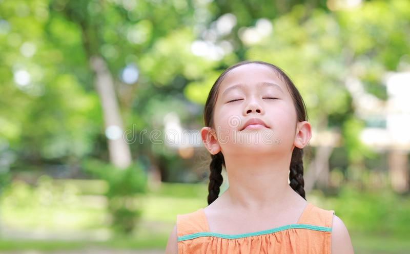 Peaceful little Asian child girl close their eyes in garden with Breathe fresh air from nature. Portrait of kid relax in green. Park for good health royalty free stock image