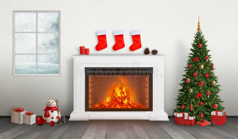 Red gift socks hung above the fireplace. Next to it is a decorated Christmas tree with gifts below. Snow is visible through the window royalty free illustration