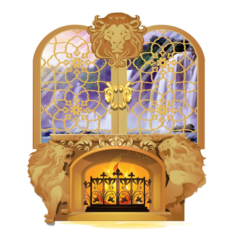 Set of vintage Royal interior isolated on white background. Burning fireplace decorated with stone figures of lions. Under window overlooking waterfall and royalty free illustration