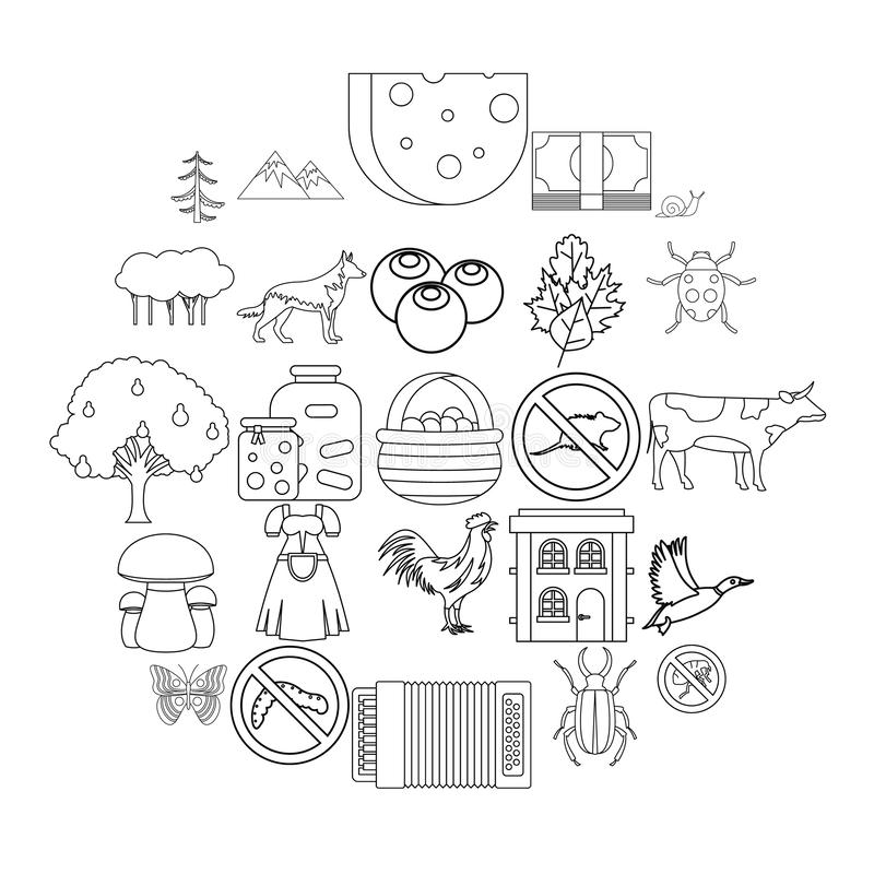 Summer cottage icons set, outline style royalty free illustration