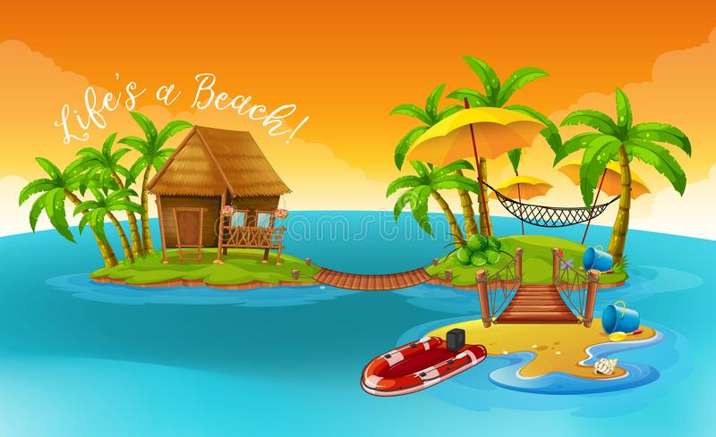 Summer holiday with cottage on the tropical island stock illustration