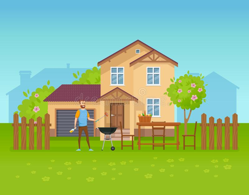 Summer outdoor picnic in yard of private house, cottage. vector illustration