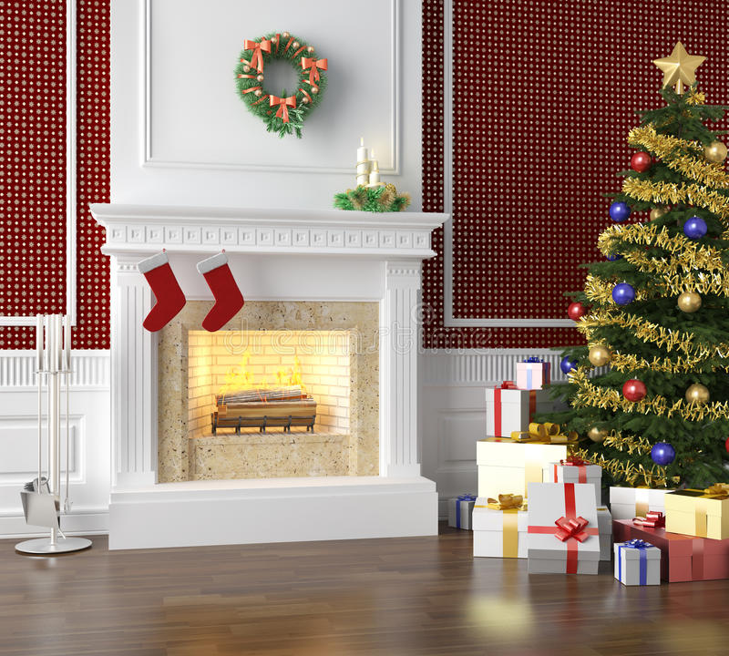 Traditional fireplace decorated for. Fireplace in a traditional home decorated for christmas with xmas tree and lots of presents royalty free illustration