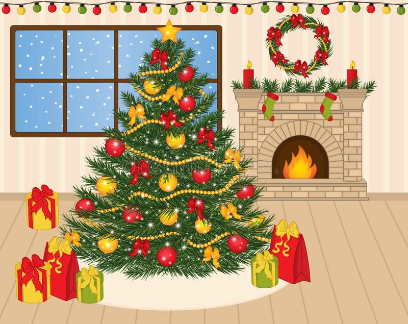 Vector Decorated Christmas Tree, Xmas Gifts and Fireplace. Vector decorated Christmas tree with balls, red bows, lights and star. Fireplace, Xmas socks, candles stock illustration