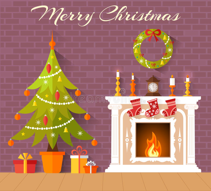 Vector interior decorated for Christmas. Christmas card with Christmas tree and fireplace. Interior decorated with the new year. Vector stock illustration