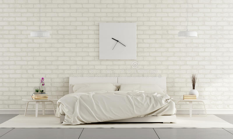 White Bedroom. Minimalist white bedroom with double bed and brick wall - 3D Rendering stock illustration