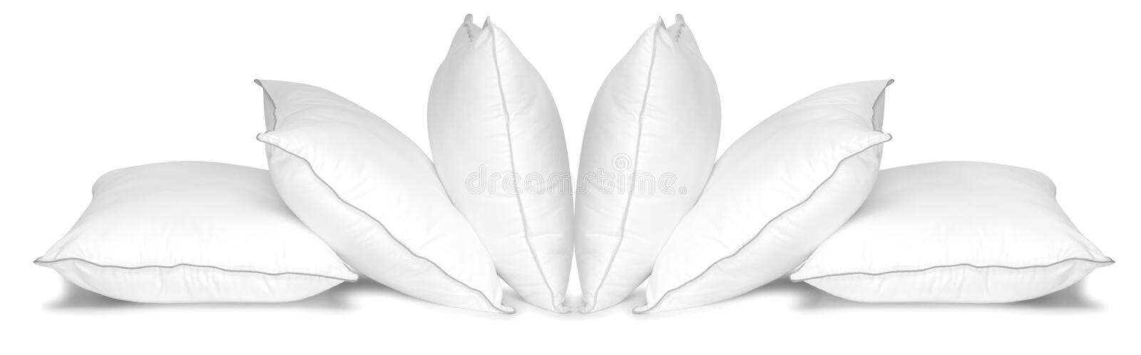 White pillows. Isolated stock photos