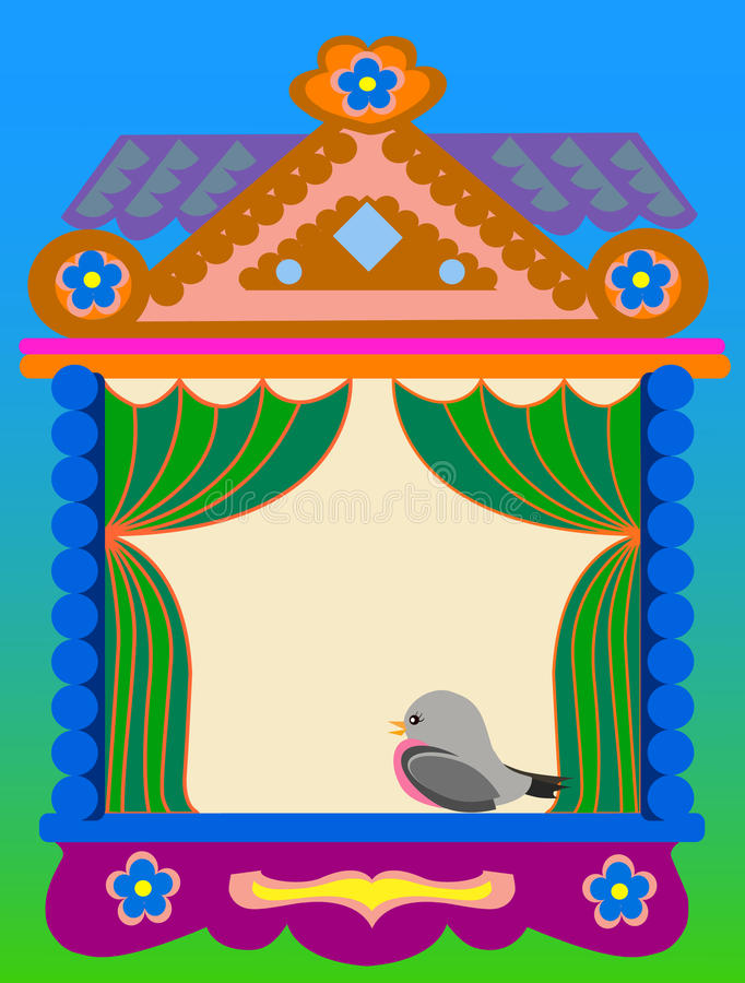 Window of the Russian traditional house stock illustration