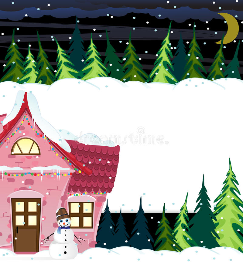 Winter house and smiling snowman vector illustration