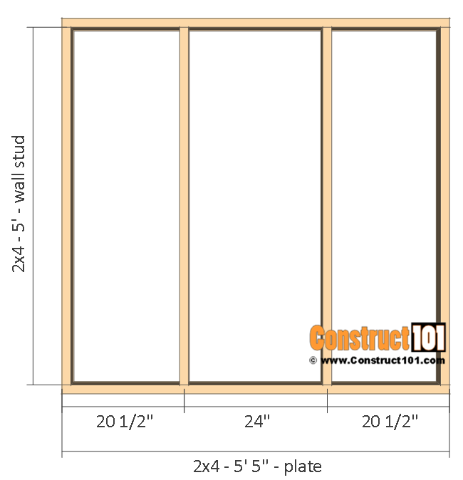 Playhouse plans - right and left wall frame.