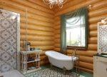 Фото дизайн ванной комнаты в деревянном доме: Ванная В Деревянном Доме: 200+ (Фото) Отделка, Обустройство