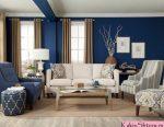 Шторы к синим обоям: Шторы к синим обоям в разных комнатах